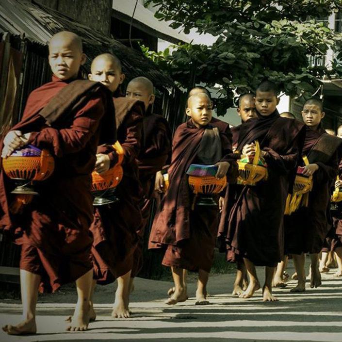 Buddhist Monks Yangon Myanmar